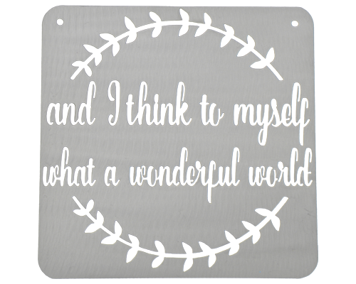 And I Think To Myself What a Wonderful World Silver Metal Sign