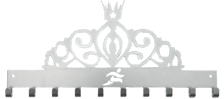 Disney Princess Tiara Runner Silver 10 Hook Medal Display Hanger