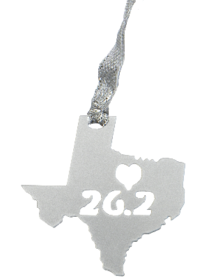 Texas Heart 26.2 Marathon Silver Dangler Ornament