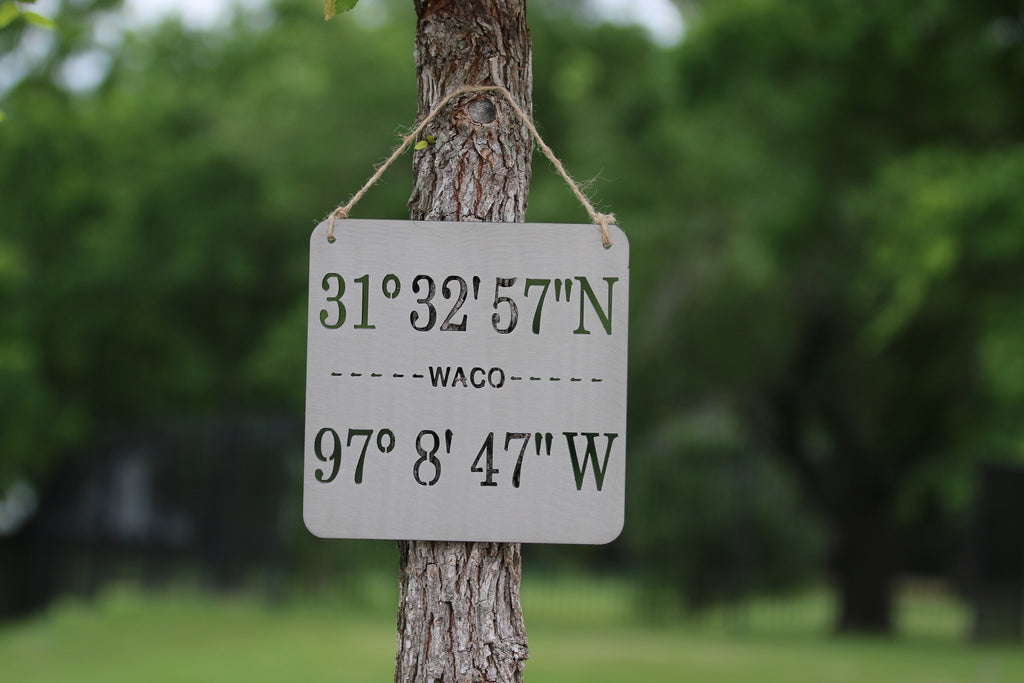 Waco Coordinates Metal Wall Art Sign