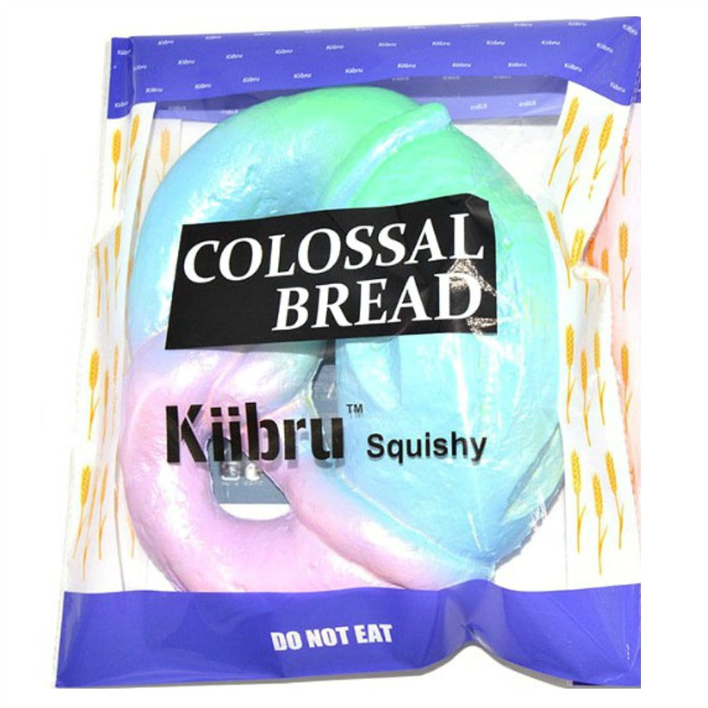 Kiibru Rainbow Galaxy Colossal Pretzel bread Squishy