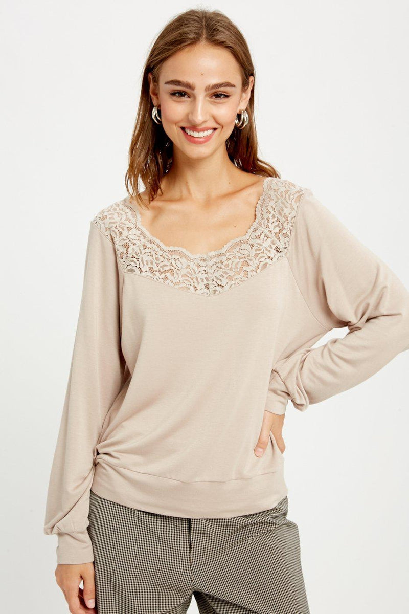 Champagne Lace Trim Top - Gallery 512 Boutique