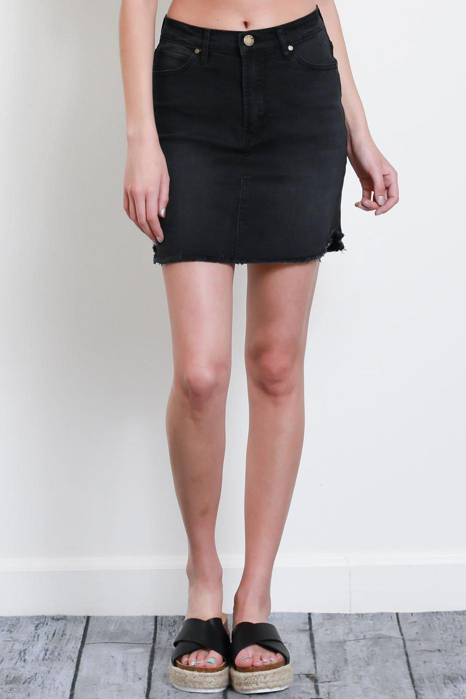 Alivia Frayed Hem Denim Skirt - Black