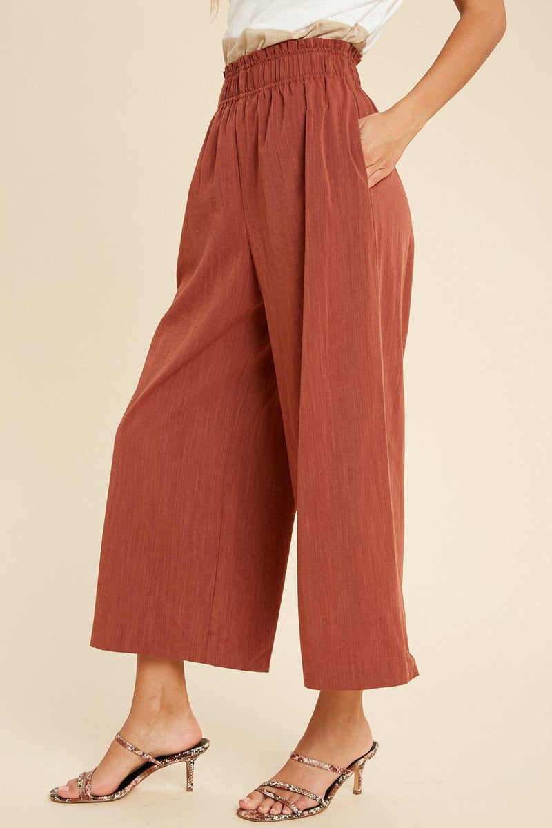 Rust Shirred Waist Wide Leg Pants