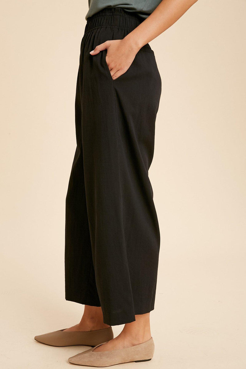 Black Shirred Waist Wide Leg Pants