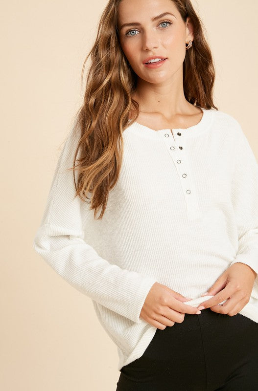 Elia Brushed Rib Henley Knit Top - Ivory
