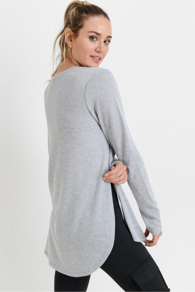 Cambrie Side Slits Top - Heather Grey