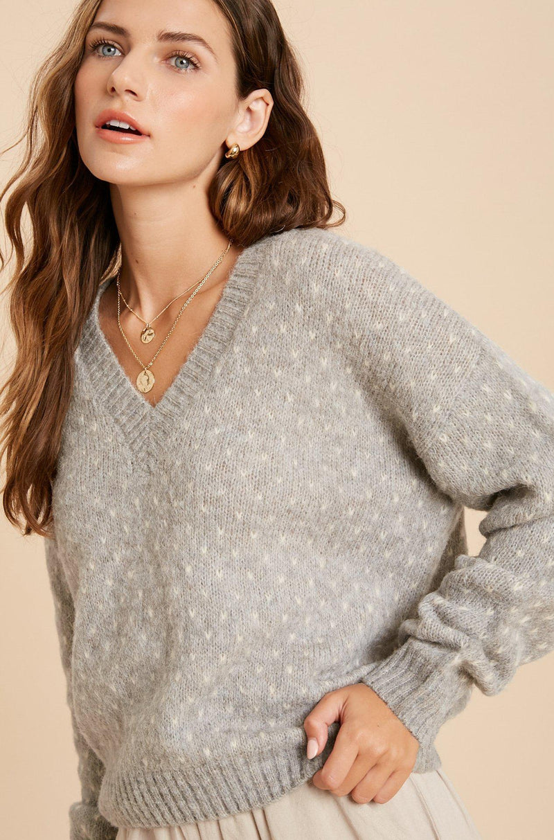 Cloud Grey Heart Stitch Pullover Sweater