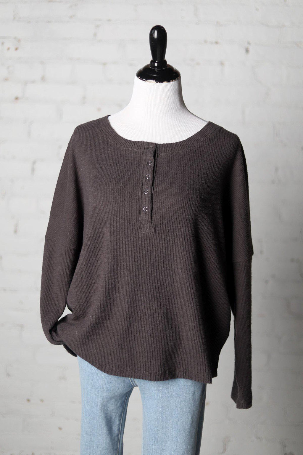 Elia Brushed Rib Henley Knit Top - Charcoal