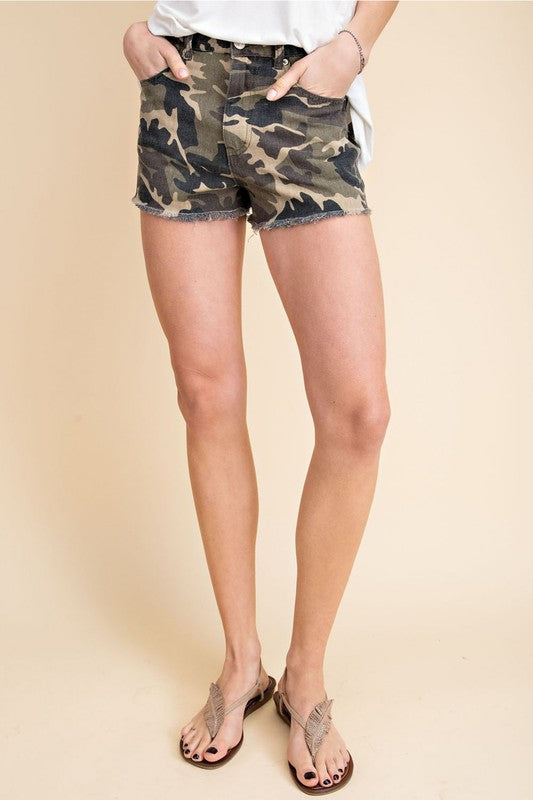 Katy Camouflage Denim Shorts - Gallery 512 Boutique