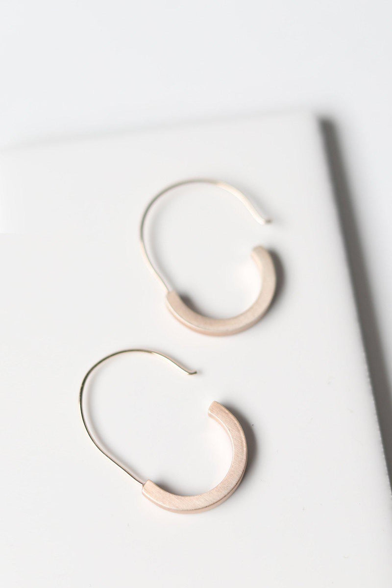 Matte Rose Gold Half Moon Hoops