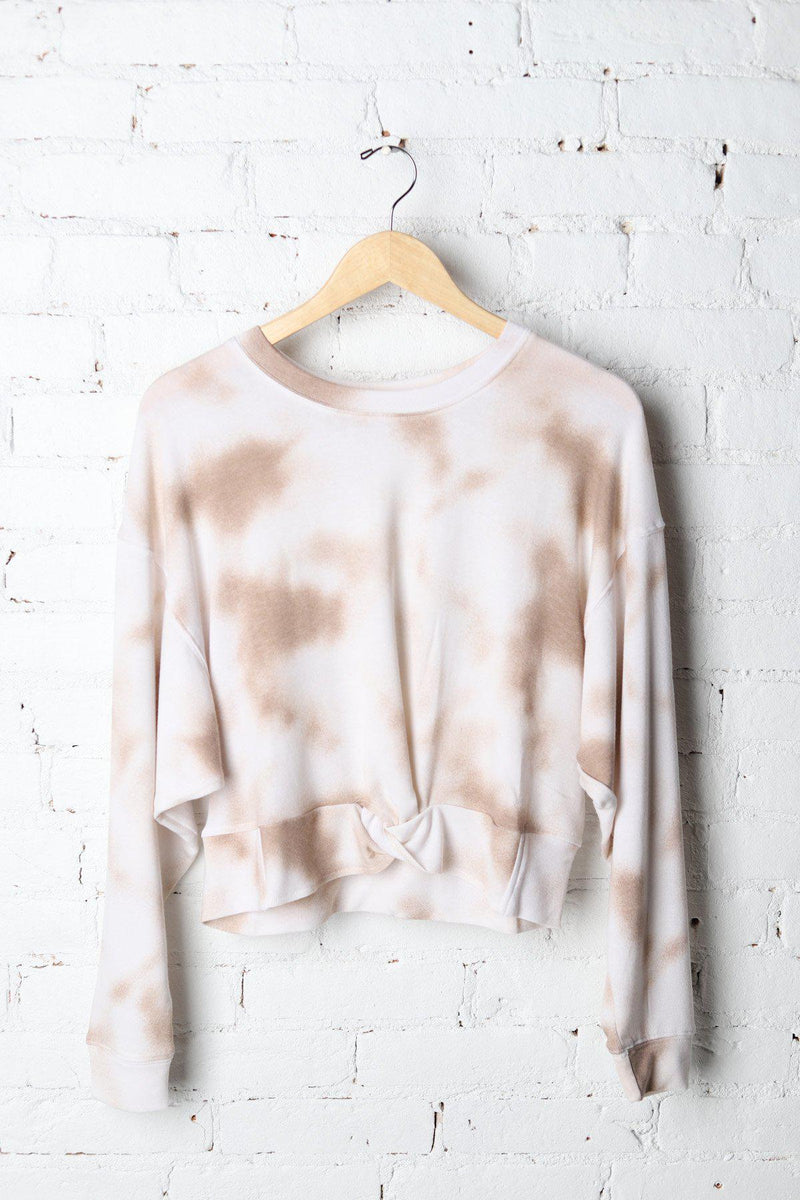 Taupe Tie Dye Knot Front Top