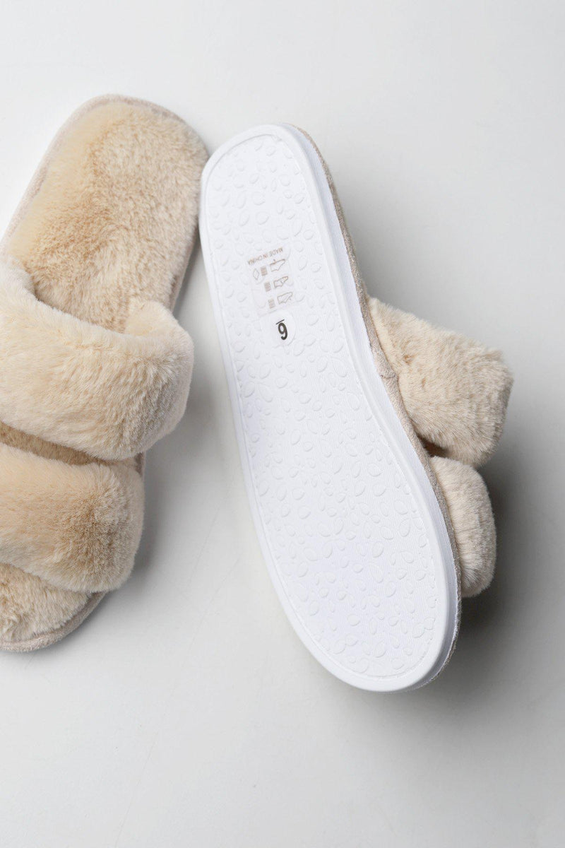 Fiona Fur Slippers - Nude