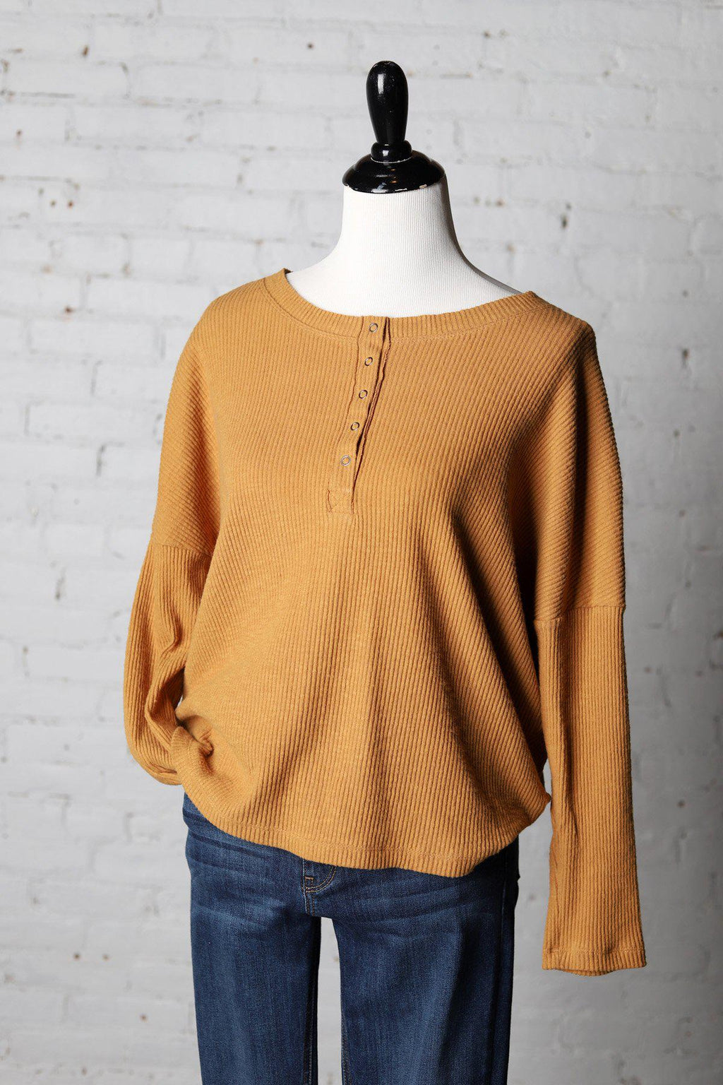Kassia Brushed Rib Henley Top