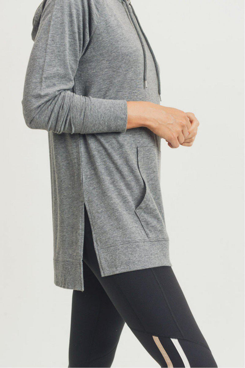 Davie Hi-Lo Hoodie Raglan - Heather Grey
