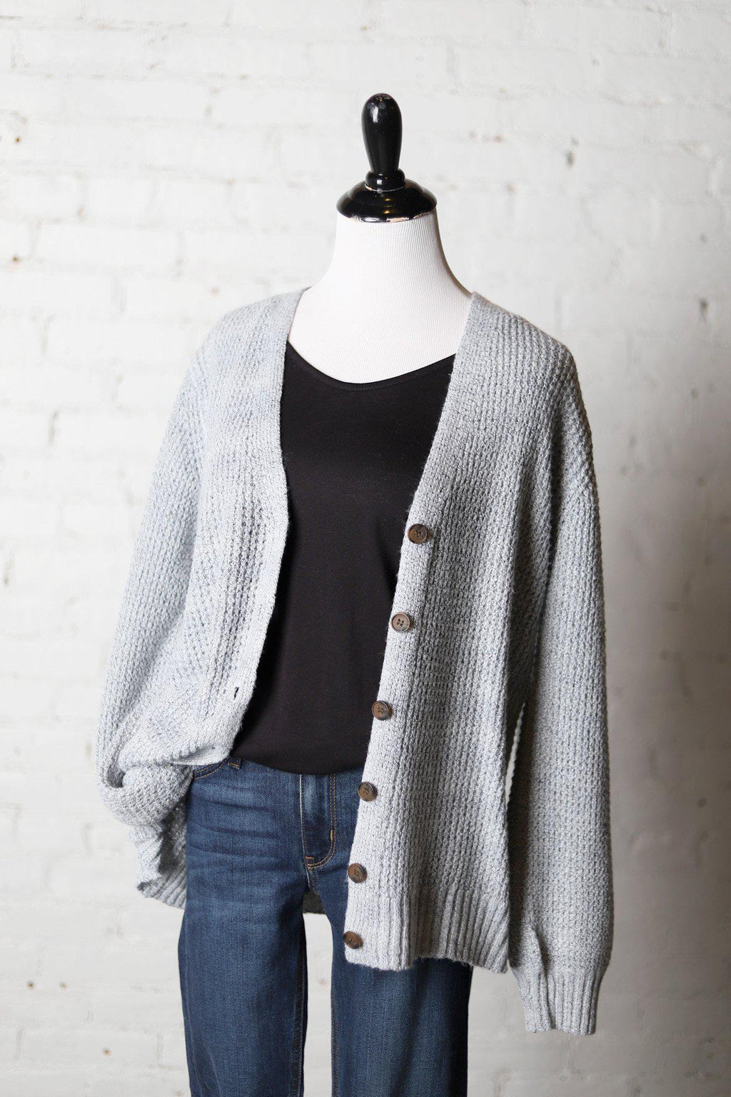 Ella Balloon Sleeve Cardigan - Heather Grey