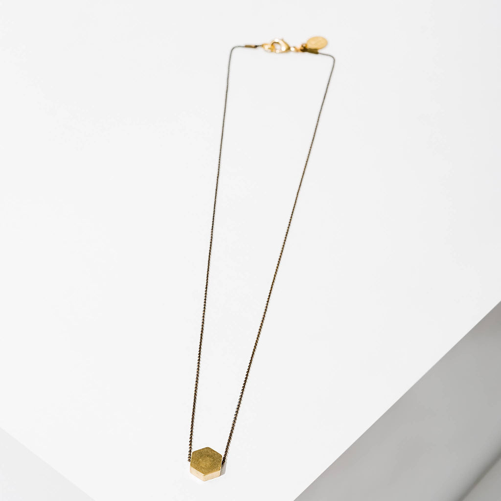 Polymath Necklace - Hexagon Brass by Larissa Loden