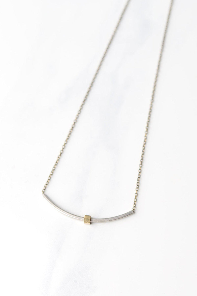 Silver Square Tube & Brass Square on Antique Brass Chain