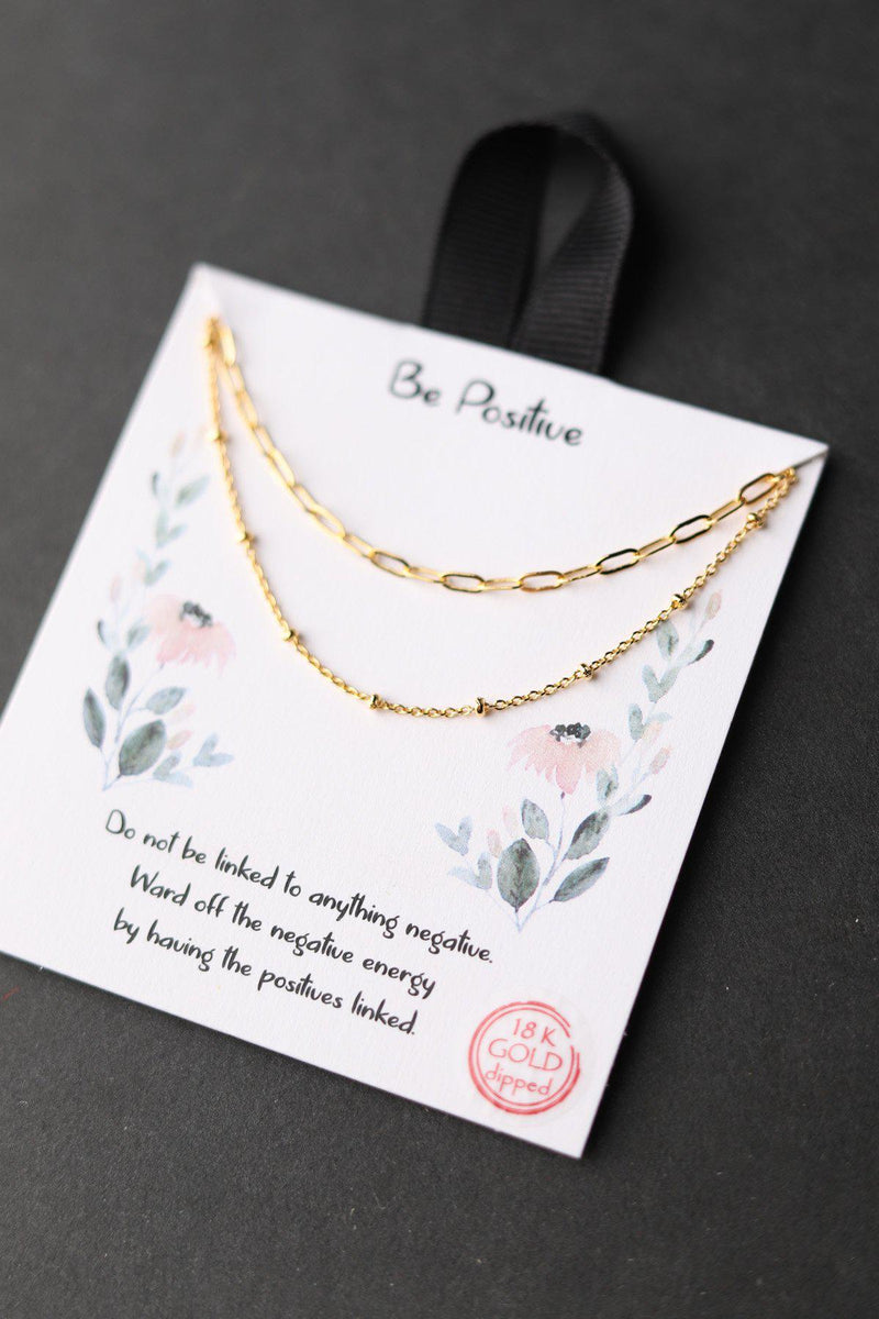 Be Positive Necklace - Gold