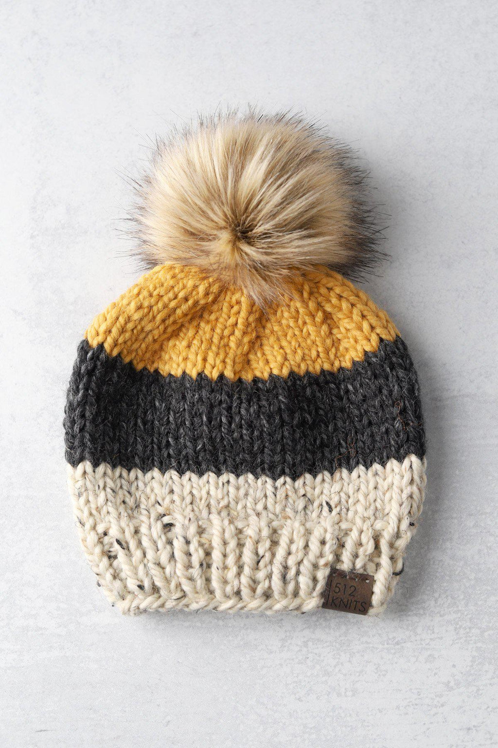 2-5 years Colorblock Pom Beanie - Oatmeal, Grey, Mustard