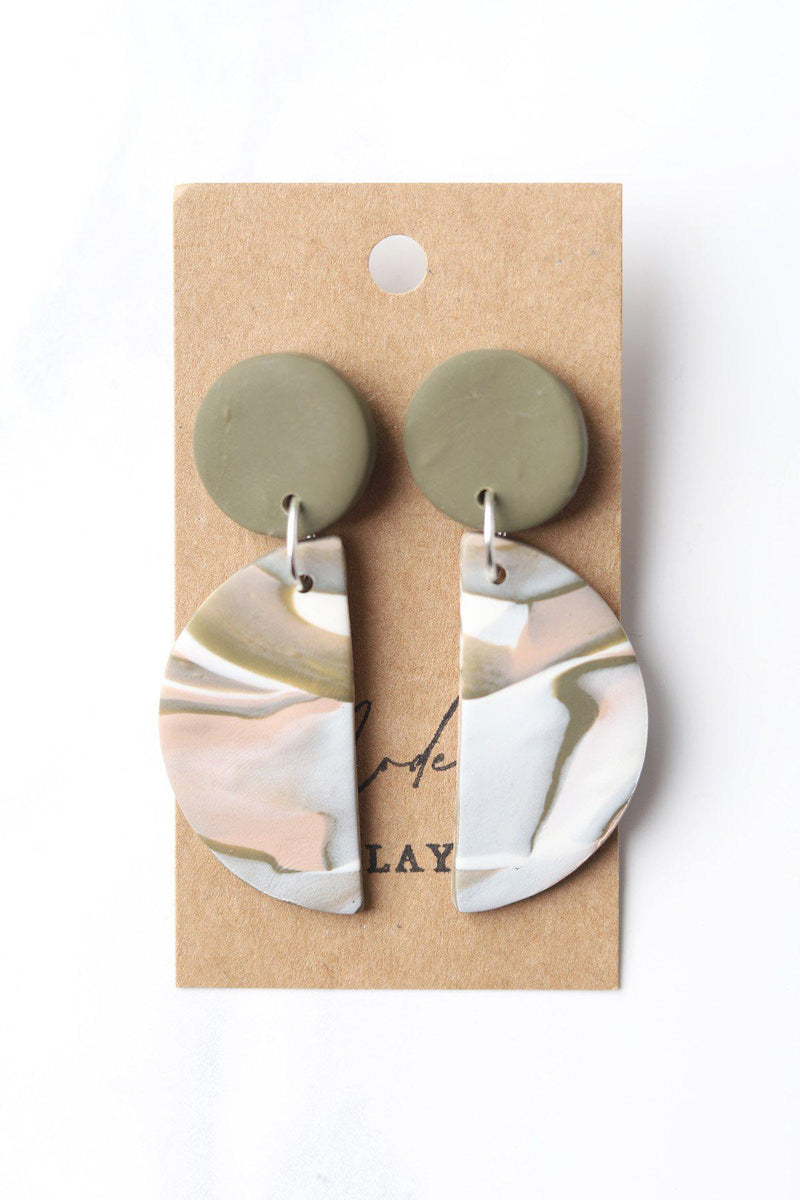 The Lido Clay Earrings / Green Marble