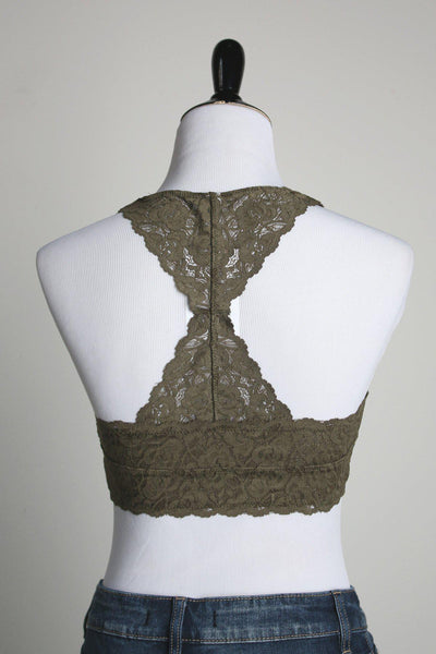 60fd19a497 Racerback Padded Lace Bralette    Olive – Gallery 512 Boutique