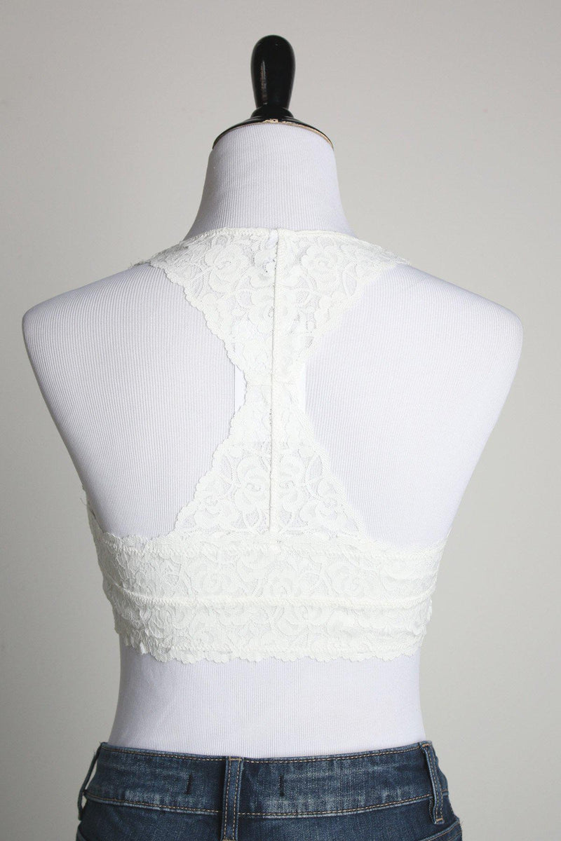 Racerback Padded Lace Bralette - Ivory - Gallery 512 Boutique