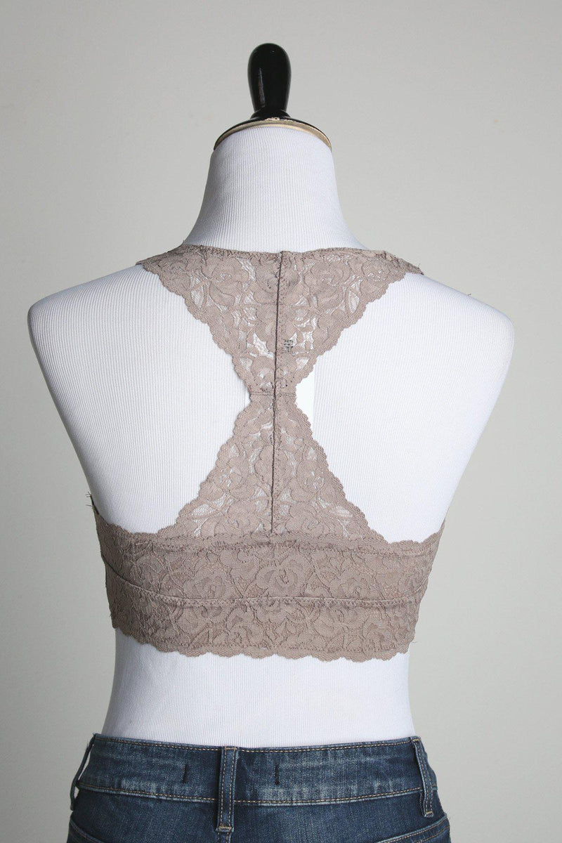 Racerback Padded Lace Bralette - Cocoa - Gallery 512 Boutique