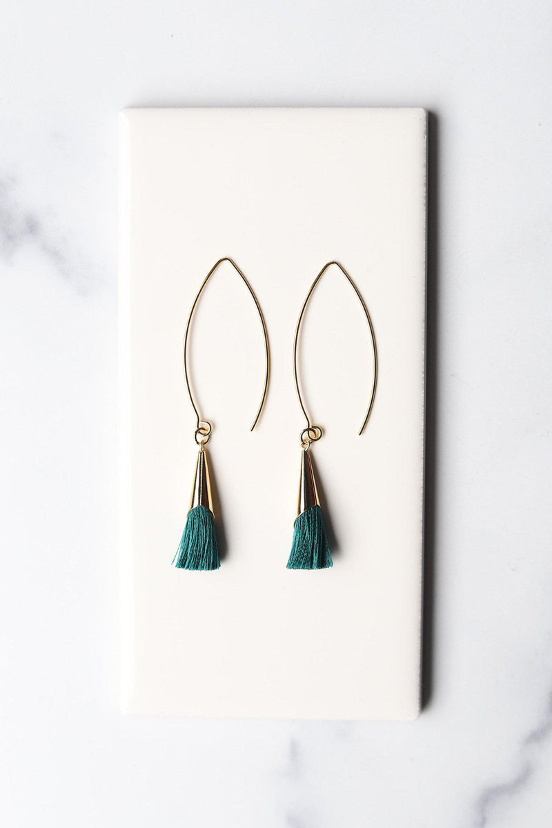 Emerald-Gold Nosara Tassel Cone Earrings