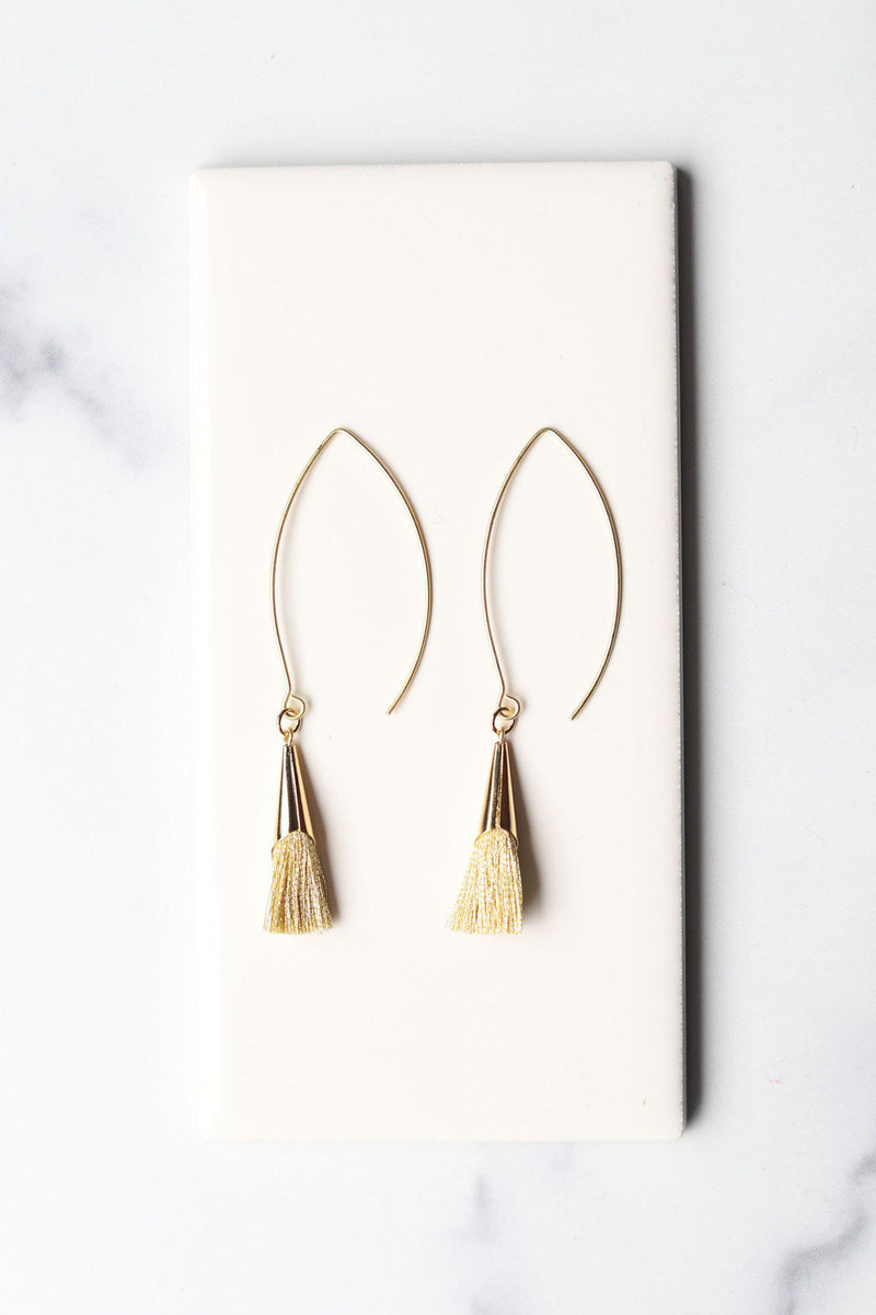Gold-Gold Nosara Tassel Cone Earrings