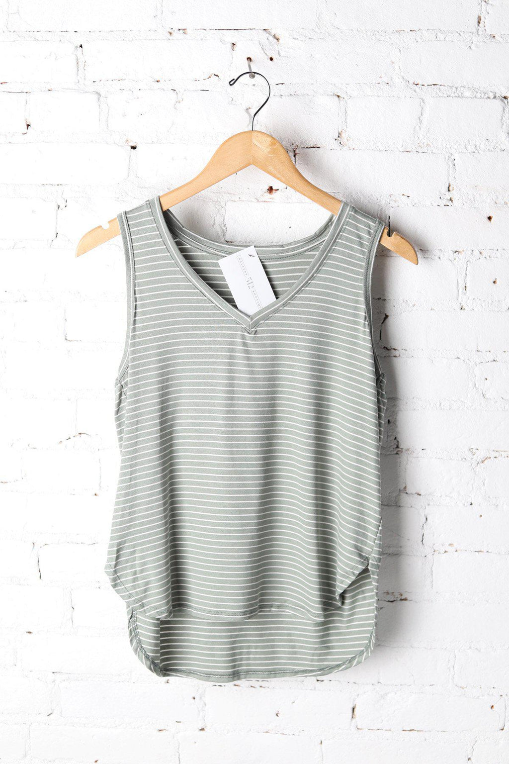 Syd Lt Olive Stripe Tank - Gallery 512 Boutique