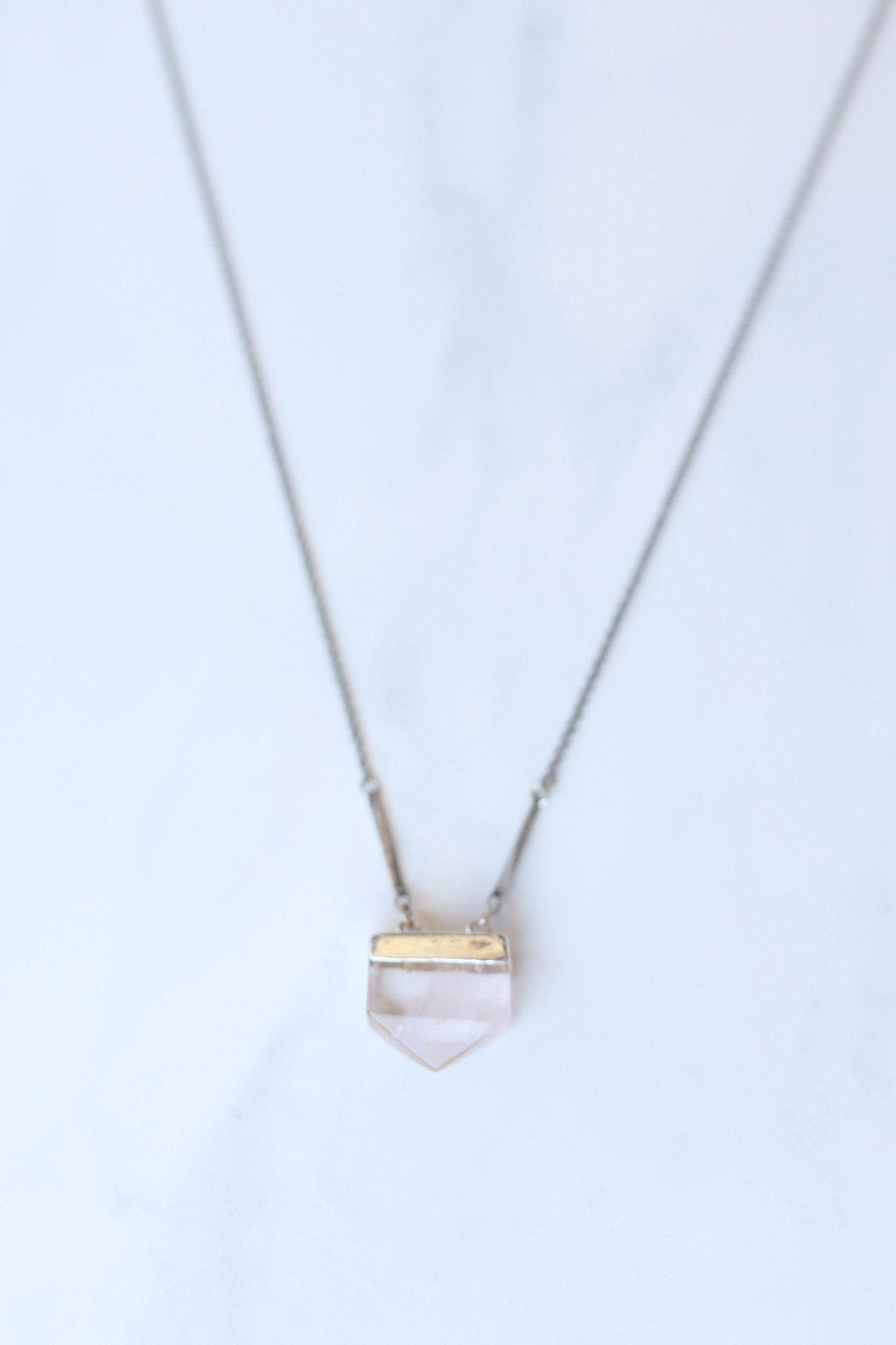 Rose Quartz Chevron Necklace - Gallery 512 Boutique