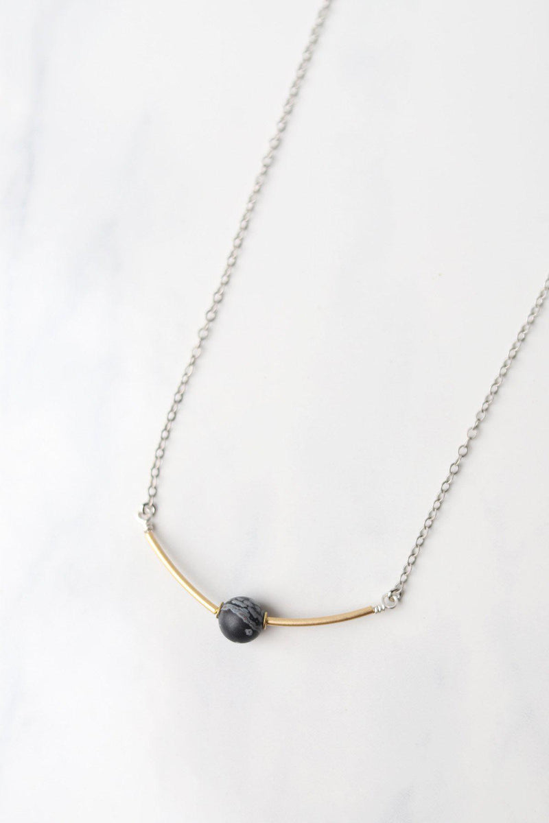 Tube Necklace with Black Gem - Gallery 512 Boutique