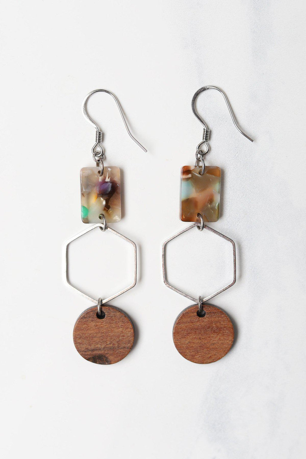 Garden Party Rectangle on Hexagon and Wood Disc Earring