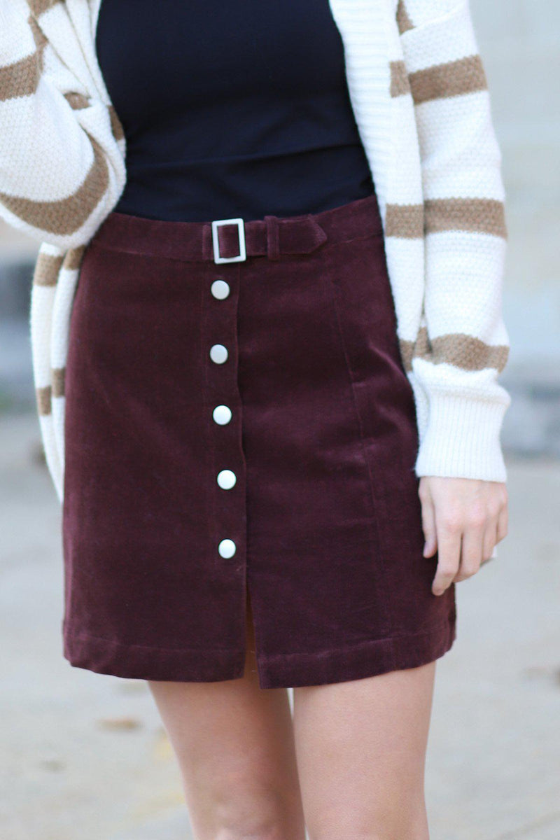 Elon Corduroy Buckle Skirt