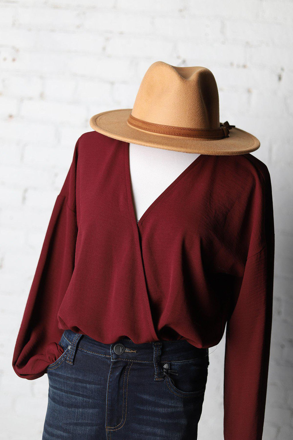 Burgundy Surplice Long Sleeve Bodysuit