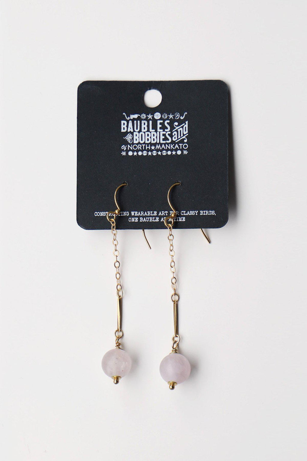 Rose Quartz Drop Earrings / Gold - Gallery 512 Boutique