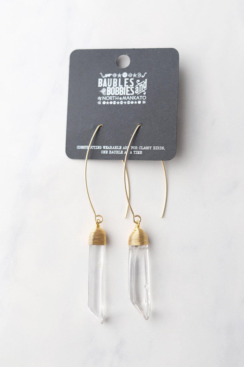 Quartz Pendant Earrings / Gold - Gallery 512 Boutique