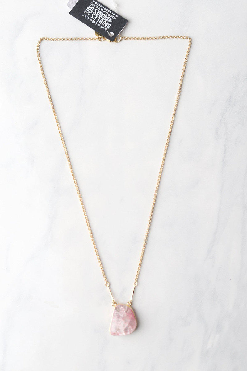 Cracked Quartz Pink Necklace - Gallery 512 Boutique