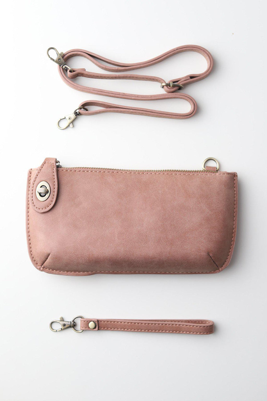 Faux Suede Wristlet Clutch / Dusty Blush - Gallery 512 Boutique
