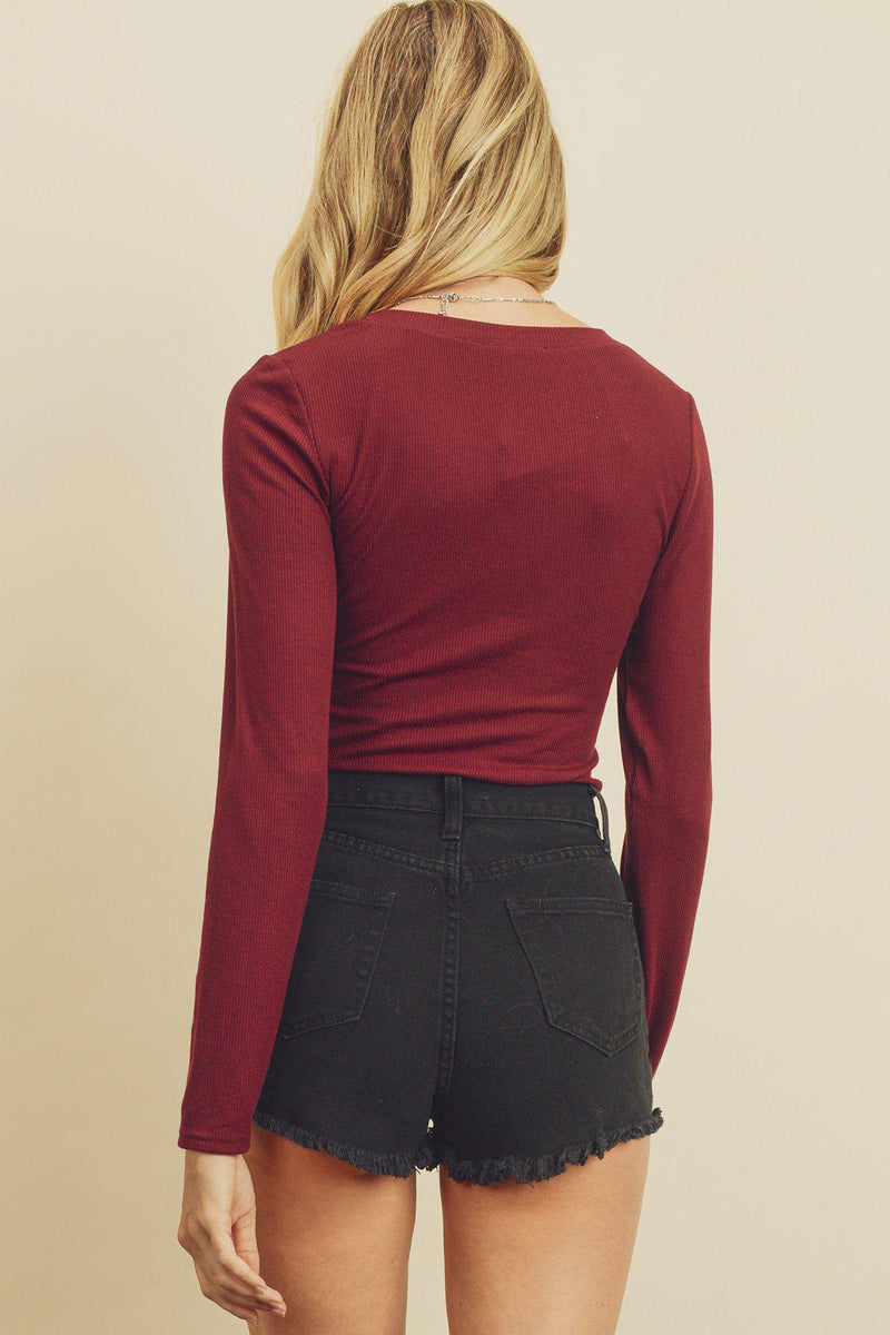 Wine V-Neck Long Sleeve Bodysuit