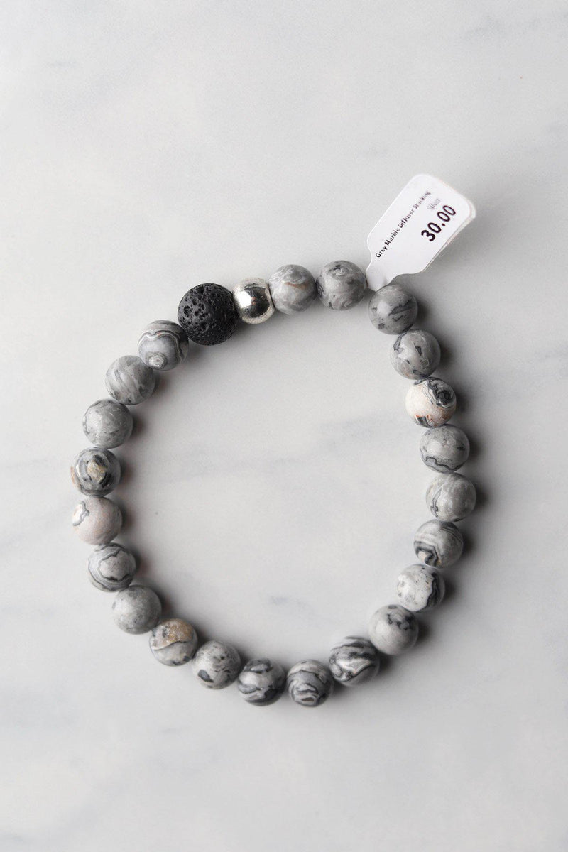 Grey Marble Diffuser Bracelet - Gallery 512 Boutique
