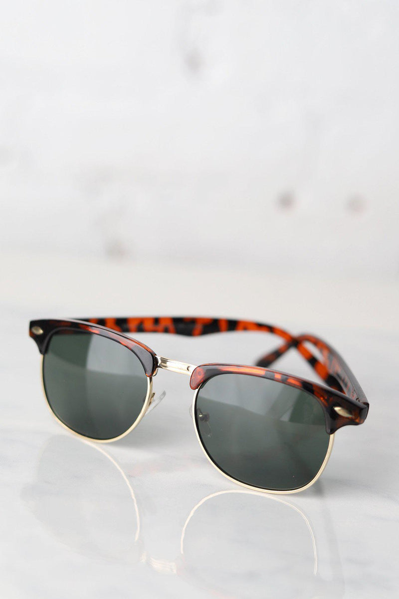 Clubmaster Tortoise Unisex Sunglasses / Grey Green Lens - Gallery 512 Boutique