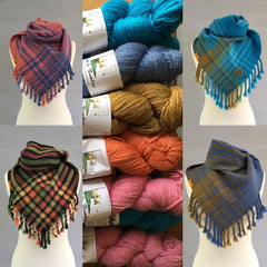 Handwoven cowls using Knit by Numbers yarn