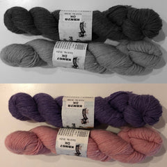 Purple and Pink yarns
