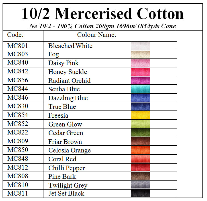 Ashford 10/2 Mercerised Cotton Colour Chart