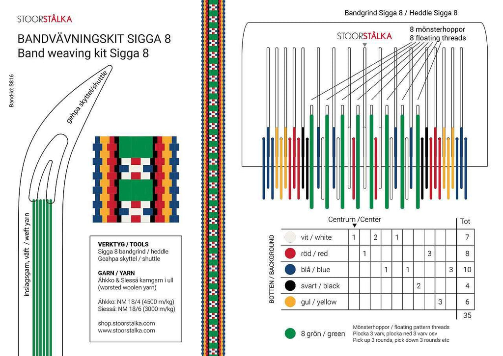 Stoorstålka Band weaving kit Sigga 8 - Green