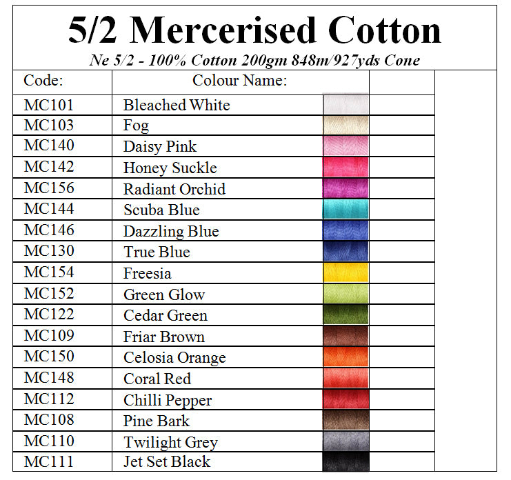 Ashford 5/2 Mercerised Cotton Colour Chart