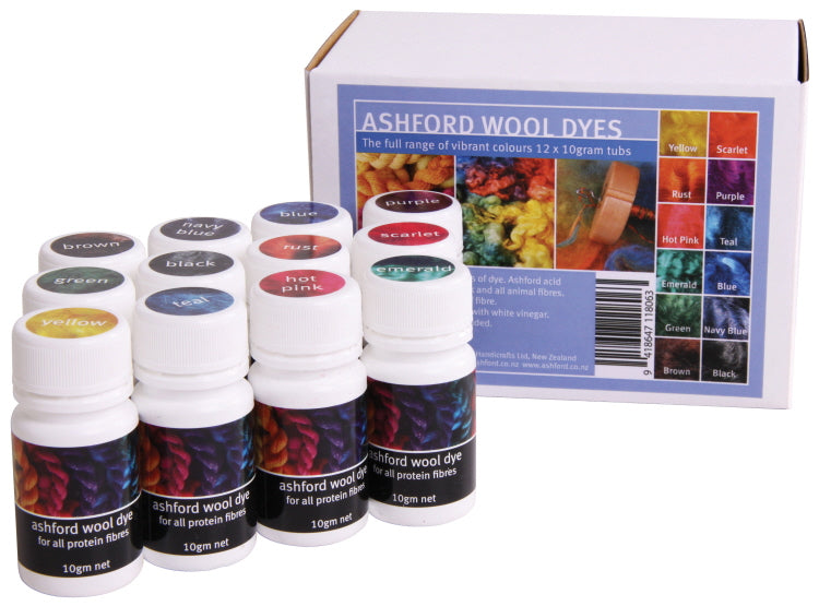 Ashford Wool Dyes Rainbow Collection (12 x 10g)