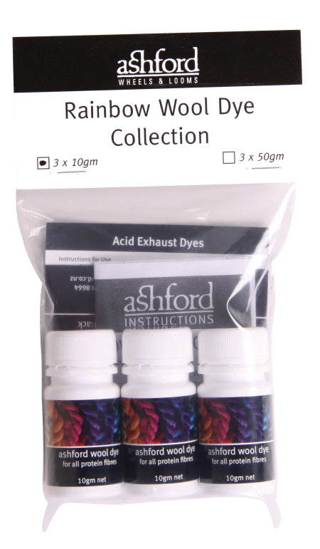 Ashford Wool Dyes Rainbow Collection (3 x 10g)